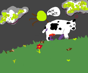 green dot hopping on a cow and swearing
