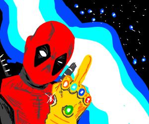 Deadpool weilds Infinity Gauntlet