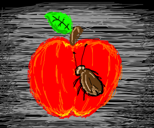 apple with a roach on it