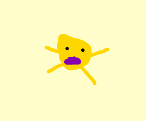 Yellow creature with purple mouth