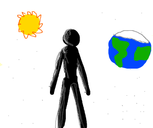 space is white and there's a tall black guy?