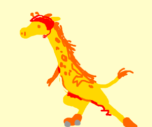 Giraffe on roller skates