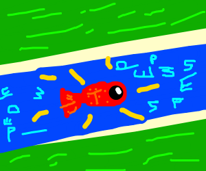 A red glowing fish swimming in a river