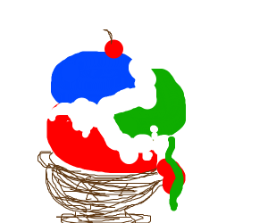 Red, green and blue ice cream