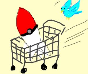 A bird with a poke-ball rocket and a cart