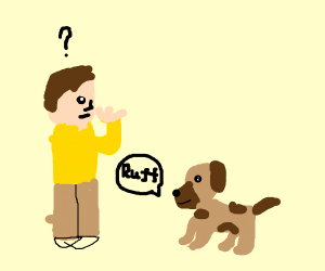 person being asked by dog but confused