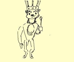 Angry bipedal fox wears a crown