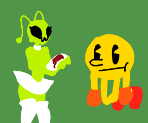 alien giving a bloody offering to pacman