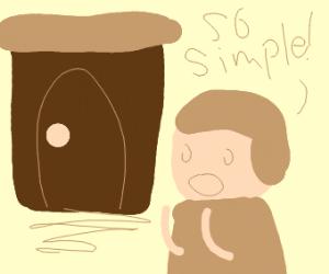man admires simple house