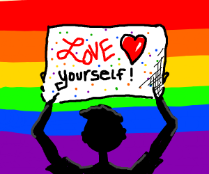 """Holding banner: """"Love yourself"""""""