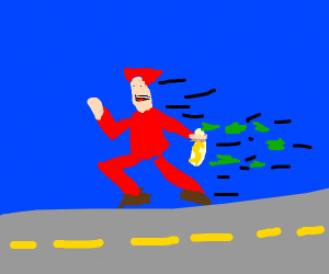 Red man runs off with a sack of cash