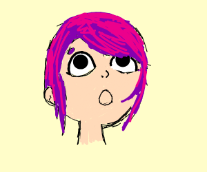 surprised purple-haired girl