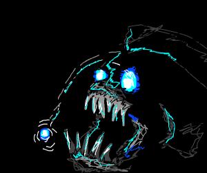 deep sea predator fish with a lantern