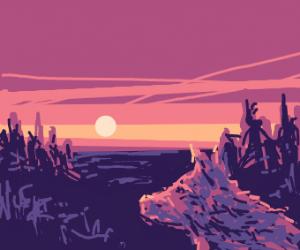 orange Wolf at sunset