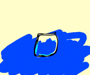 Glass of water on water