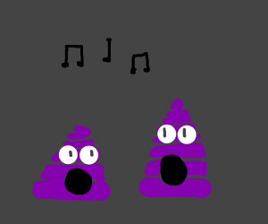 Purple poo singing
