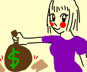 anime girl breaking board with money