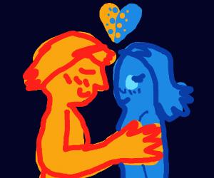 orange person hugs blue person