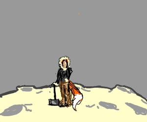 Eskimo Fox Girl Holds Mjolnir On The Moon