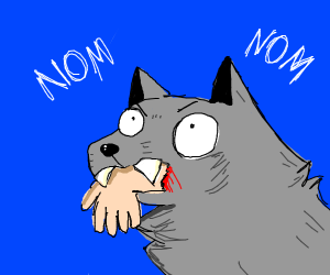 Angry wolf eating a hand