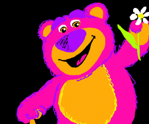 The bear from Toy Story has a flower