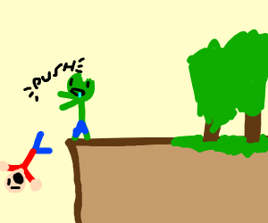 Getting pushed off a cliff by a Zombie