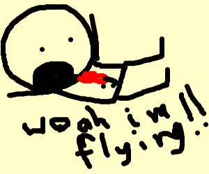 man flies with his legs forward