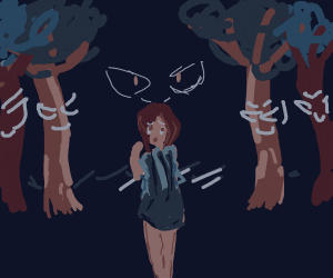 Evil trees are reaching out to grab girl