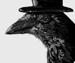 Upper class raven wears a shiny top hat