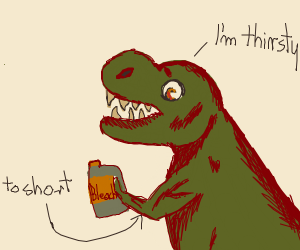 Dinosaur drinking bleach