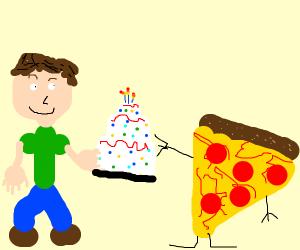 boy brings a pizza cake