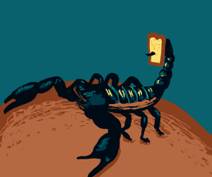 scorpion with bread on its stinger