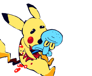 Squidward bursts out of pikachu