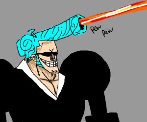 Anime guy shoots lazer from his hair