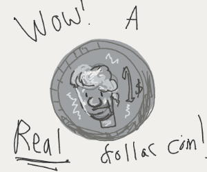 A fake dollar coin
