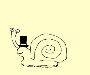 snail wearing a top hat