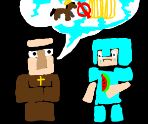 Minecraft people arguing about church