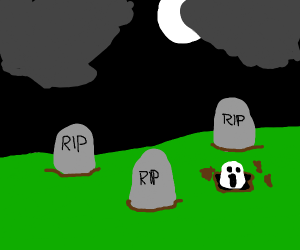 A Ghostly Face Emerges from Spooky Graveyard