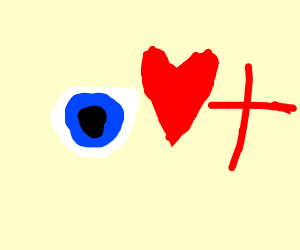Eye, Heart, Red Plus Sign