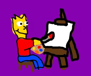 bart simpson draws on a canvas