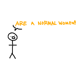 stick man creature yelling are a normal women