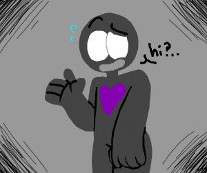 grey person with purple heart saying hi?..