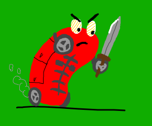 Red humanish car ready to battle