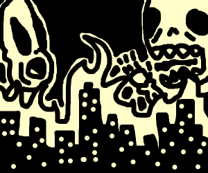 Burning city. White alien & skelletons scream