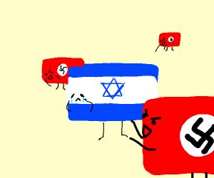 NAZI flags gangup on Jewish flag
