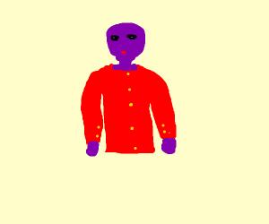 punk purple man with a button up shirt
