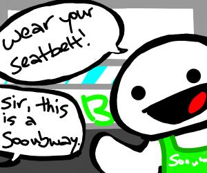 Subway employee in a comic
