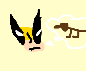 wolverine angrily thinks about a dog