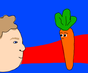 Man stares carrot in the face