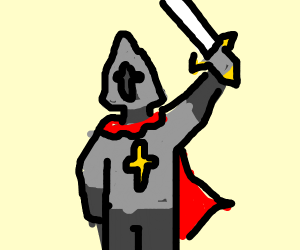 A knight with a sword